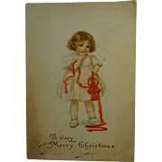 SALE Old Christmas Card Little Girl with ribbons and bells