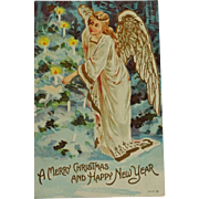 SALE Old Postcard Angel lighting candles Christmas /New Year