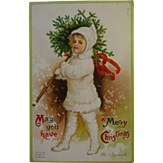 SALE Signed Clapsaddle Postcard Child carrying Xmas Tree..sweet!