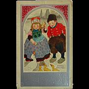SALE old Postcard Dutch Children feeding Ducks Christmas