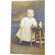 SOLD old Postcard Photo of Baby Jean Rims..do you know her? c. 1910  no hair!