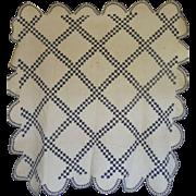 Quilt  Double Irish Chain Indigo/white zigzags, scallops & rich provenance c1860