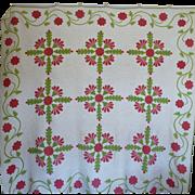 Trapunto Applique Quilt 16 different designs EXQUISITE initialed 1800's