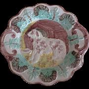 Majolica Dog Plate ~ Charming!