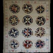 """Carpenter's Wheel Quilt  61"""" c 71"""" zig zag border ~ LeMoyne Star"""