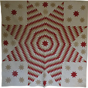 mid-1800 Lone Star Quilt v. fine work w Satellites -a Treasure