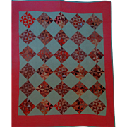 SALE 1800's Quilt brown double pink Scraps On Point Unused  NICE!!