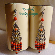 REDUCED Handcrafted Red Coral and Sterling Silver Chandelier Earrings