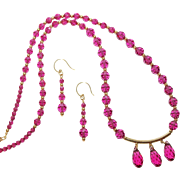 SALE Fuchsia Swarovski Crystals and Gold Filled Necklace and Earring Set