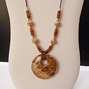 "REDUCED Textured Wood Pendant Golden Horn and Carved Bone Beads on Brown Leather 29"" Long"