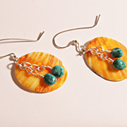 SALE Southwestern Orange Spiny Oyster and Turquoise Silver Earrings