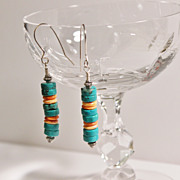 SALE Southwestern Turquoise and Orange Spiny Oyster Sterling Earrings