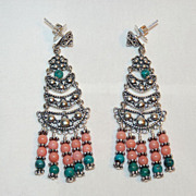 SALE Salmon-Pink Coral and Turquoise Sterling Chandelier Earrings