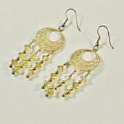 Artisan Brass Chandelier Earrings  with Lime Swarovski Crystal