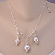 REDUCED Handcrafted Wedding Bridal Swarovski Crystal Pearl and Crystal Sterling Chain Necklace