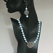 REDUCED Handcrafted Silver Flower Connector and Opalite Necklace and Earring Set