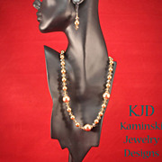 REDUCED Artisan Bronze Swarovski Crystal Pearls and Austrian Crystals Bronze Necklace and Earr