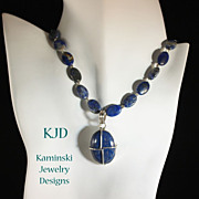 SALE Denim Lapis Pendant and Beads Sterling Necklace`