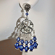 SALE Handcrafted Blue Sapphire Swarovski Crystals and Sterling Chandelier Earrings