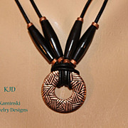 SALE Artisan Tribal Copper Amulet Pendant Horn Beads and African Copper on Black Leather Cord