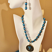 REDUCED Blue Magnesite and Antiqued Brass Necklace and Earring Set