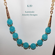 REDUCED Artisan Aqua Blue Chalcedony and Gold Necklace