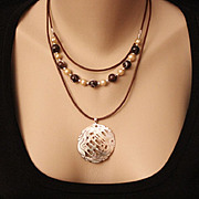 REDUCED Artisan Black Lip Shell Carved Pendant and Pearls on Brown Leather Cord