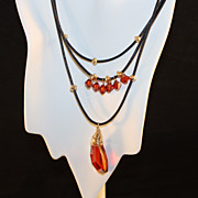 REDUCED Artisan Red Magma Swarovski Pendant and Crystals, Gold Filled beads on Black Leather N