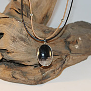 SALE Artisan Black and Tan Jasper Pendant on Black and Taupe Leather Cords with Sterling