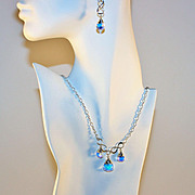 SALE Artisan Bridal Wedding Swarovski Briolette Crystals and Sterling Chain Necklace and ...