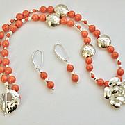 SALE Artisan Karen Hill Tribe Silver Hammered Rose Pendant and Lentil Beads with Swarovski ...