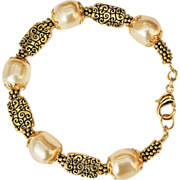 SALE Swarovski Pale Gold Baroque Crystal Pearls and Gold Plated Bracelet