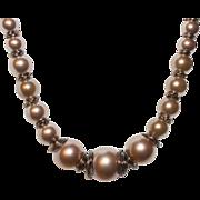 SALE Artisan Handcrafted Swarovski Bronze Crystal Pearls and Dark Bronze Wirework