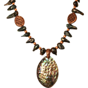 SALE Artisan Abalone and Freshwater Pearls with Copper Necklace and Earring Set