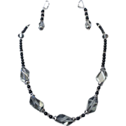 SALE Artisan Swarovski Black Diamond Onyx and Bali Sterling Necklace and Earring Set