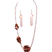 SALE Artisan Copper Leaves on Bright Hammered Copper Chain Necklace and Earring Set