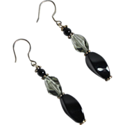 Artisan Swarovski Black Diamond Cubist Crystals, Onyx and Bali Sterling  Earrings
