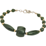 SALE Artisan Handcrafted Dark Green Nephrite Jade and Sterling Silver Bracelet