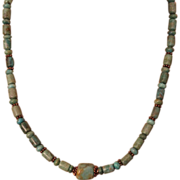 SALE Artisan Handcrafted Green Turquoise and Copper Necklace