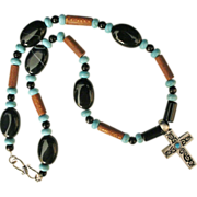 SALE Handcrafted Men's or woman's Celtic Pewter Cross with Turquoise, Black Agate and Wood Nec