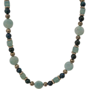 SALE Artisan Amazonite, Azurite and Swarovski Crystal with Pewter Necklace and Earring Set