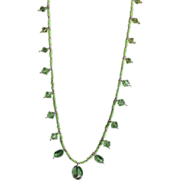 SALE Artisan Swarovski Peridot Crystals Lime Seed Beads and Silver Long Necklace