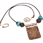 SALE Artisan Handcrafted Copper Pendant with Copper and Turquoise Beads on Leather Cord