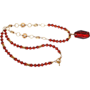 SALE Artisan Swarovski Red Magma Pendant and Crystals Gold Vermeil Necklace