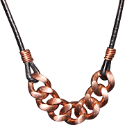 SALE Men's or Women's Heavy Copper Curb Link Chain on Black Leather Cord Necklace