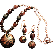 SALE Embossed Patinaed Copper Pendant with Green Jasper and Red Tiger Eye Necklace and Earring