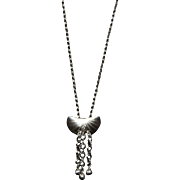 SALE Artisan Long Necklace with Sterling Shell Pendant Silver Fillled Beads and Chain