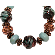 SALE Blue Green Raku, Lampwork and Amazonite with Copper bracelet