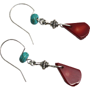 SALE Deep Red Coral Teardrop Beads with Turquoise Rondelle and Sterling Earrings