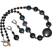 SALE Dark Blue Dumortierite Gemstone Beads and Gold Filled Necklace and Earring Set